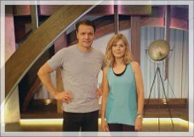 Glynis and Howard on set at QVC