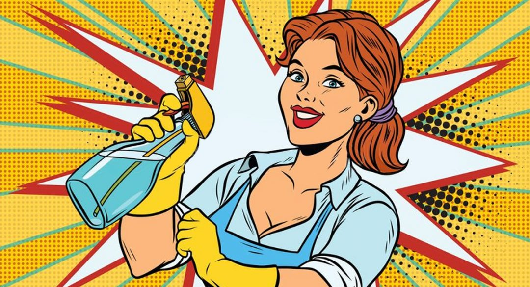 Cleaning Woman with Spray on Yellow Popart