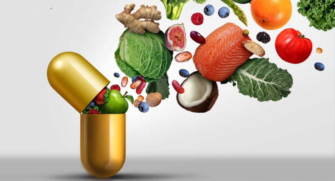 Large Gold Pill with Fruit and Vegetables
